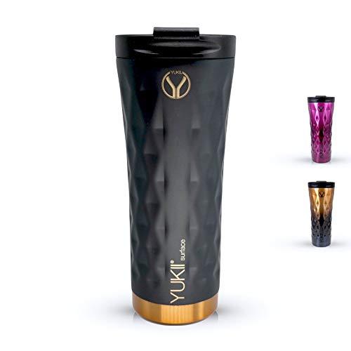 Yukii Isolierbecher Travel Mug 500 ml aus Edelstahl | Bpa frei - doppelwandig Vakuum isoliert | Coffee to go | Thermobecher | Kaffeebecher to go