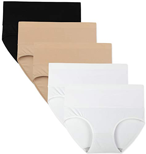 INNERSY Damen Slips Mehrpack Elastische Baumwolle Klassische Farbe Schwarz Weiß Hipsters 5er Pack (XXL-EU 46, Klassisch 5K)