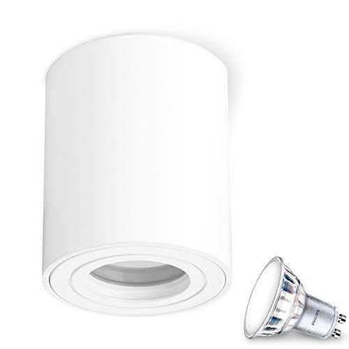 JVS Aufbauleuchte Aufbaustrahler Deckenleuchte Aufputz MILANO IP44 5W LED Warmweiss GU10 Fassung 230V rund weiss Strahler Deckenlampe Aufbau-lampe Downlight aus Aluminium