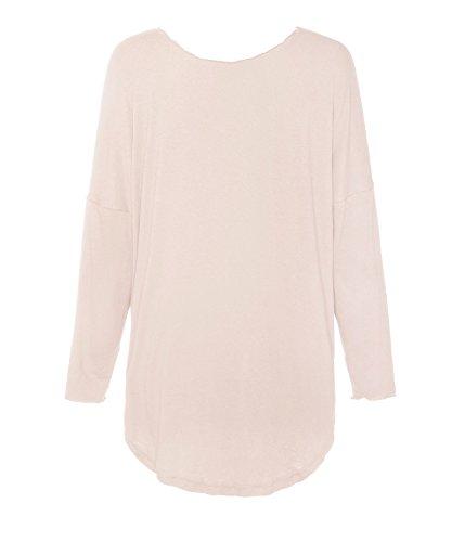 ReliBeauty Donna Tops Manica Lunga Da Legare Tie Up Tee Tunica T-Shirts Beige