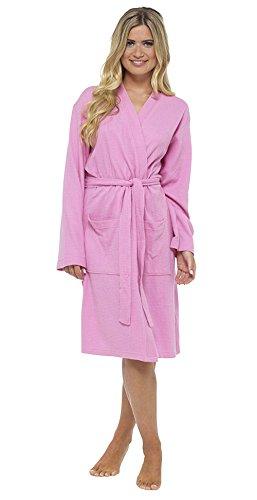 Insignia Damen Waffel Robe Bademantel, weich 100% Baumwolle Wickel Kimono Spa - Rosa, Medium -