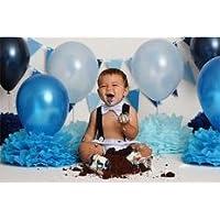 PuTwo Ballon Gonflable Lot de 100 30CM Décoration de Fête Pour Mariage Anniversaire Baby Shower - Bleu et Blanc