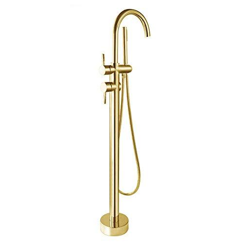 Stand Badewanne (Bad Wanne Mischbatterie Stand Badewanne Wasserhahn mit Handbrause Bodenmontage,Gold)