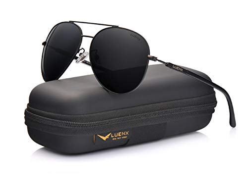 LUENX Herren Sonnenbrille Polarisiertes Fahren mit Gehäuse - UV 400 Schutz Schwarzer Rahmen Schwarzes Linse 60mm