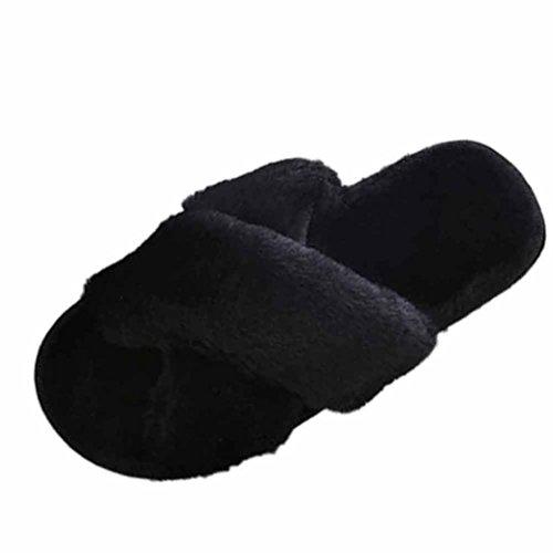 Tongs De Dorame Pour Femmes, Pantoufles Douces Pantoufles D'hiver Chaud Doux En Peluche Interne Anti-dérapant Pour Les Femmes - Sweat Noir