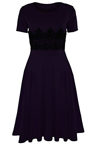 Da Donna Manica Ad Aletta Vita Inserti In Pizzo Scampanato Franki Lunghezza Media Pattinatrice Abito Midi Taglie Forti UK 8-30 Violet mini robe manches courtes mancherons