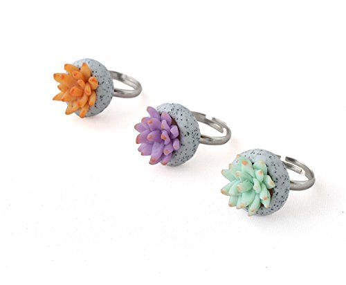 succulent-plant-statement-ring-for-women-polymer-clay-modern-jewelry-adjustable-sizing