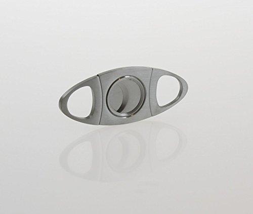 Tagliasigari in acciaio, 2 lame, color argento