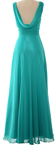 MACloth Women Long Cowl Neck Wedding Party Bridesmaid Dress Formal Gown Teal
