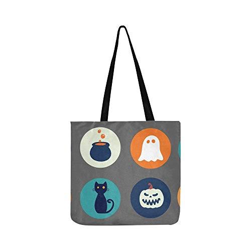 Halloween Sammlung Runde Aufkleber Traditionelle Cartoon Leinwand Tote Handtasche Schultertasche Crossbody Taschen Geldbörsen Für Männer Und Frauen Einkaufstasche