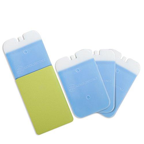 Koolbeenz confezione composta da 4 mattonelle refrigeranti in plastica di grande formato, per borse frigo e cestini per il pranzo, con gel, completa di 1 custodia protettiva in neoprene