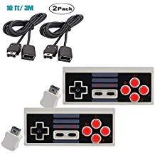 Kabelloser Controller für Nintendo NES Mini Classic Edition, 2,4 G Gamepad Entertainment-System-Konsole mit Empfänger, 3 m Verlängerungskabel, Super Gaming Joypad Controller mit Turbo-Tasten, 2 Stück - Controllern Zwei Mit Wii