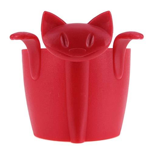 Ellepigy Kreativ Kat mit Pfote Tee Infuser Süßigkeiten Becher Sieb Tasse Teekocher (Rot)