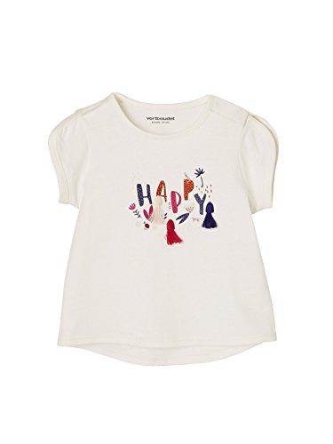 18f2d8d1240ab Vertbaudet T-Shirt bébé Fille à Pompons et Motif Blanc 6M - 67CM