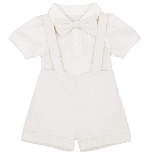 FYMNSI Baby Jungen Gentleman Outfit Neugeborene Taufe Anzug Baumwolle Kurzarm Body Shirt + Hosenträger Shorts + Fliege 3 Stücke Set für Geburtstagsfeier Hochzeit Lässig Fotografie Weiß 6-12 Monate -