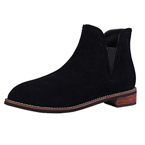 Liquidación Martin botas Yesmile cuero cuadrado talón botines señoras retro moda Slip-on ronda zapatos de pie