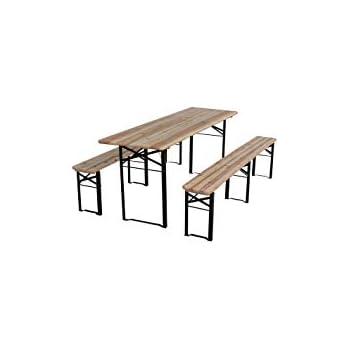 Table Brasserie Bois Avec 2 Bancs 220 X 80 X 76 Cm Amazonfr