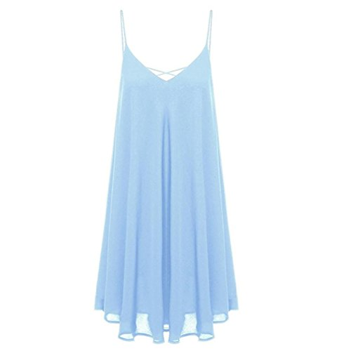 Igemy Frauen ärmellos kurz Mini Kleid Weste Sommer Strand Lange Tops T-Shirt Hellblau