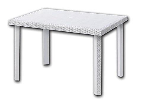Tisch rechteckig 80x 120cm mit Einsätzen aus Rattan weiß Modell: Rodolfo Möbelstück für Garten Bar Restaurant 004678 Rechteckiger Tisch