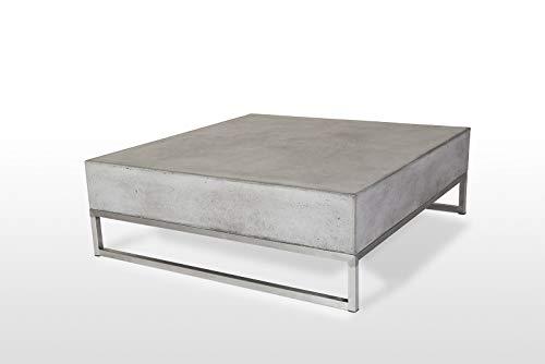 Table carrée béton et Structure métal chromé - Meuble Design Contemporain - MIYU