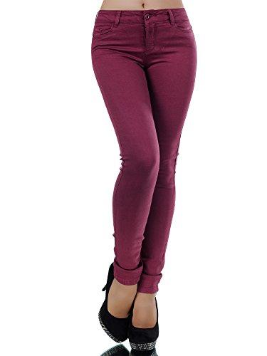 L370 Damen Jeans Hose Damenjeans Röhrenjeans Röhrenhose Röhre Normaler Bund, Farben:Bordeaux;Größen:40 (L) (Stretch Low Cord Hose Rise)