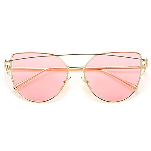 Sonnenbrillen Brand Designer Cat Eye Sunglasses Women Vintage Metal Reflective Glasses For Women Mirror Retro Oculos De Sol Gafas gold Ocean pink