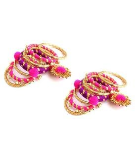 Virasat Handmade & Lightweight Fabric Gotta Patti and Pearl Pom Pom Bangle/Bracelet Jewelry Set For Women/Girls/Color: Pink & Golden