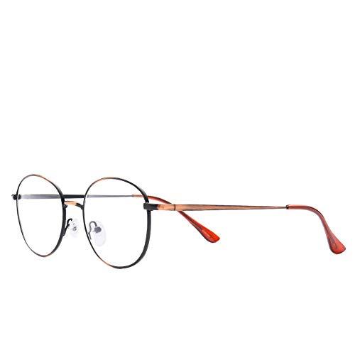 AdorabFrames Gläser Metall gebürstet Brillengestell rund retro flacher Spiegel Unisex gebürstetes Kupfer