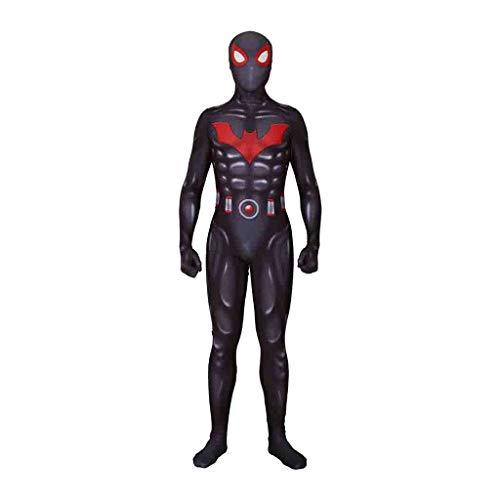 QQWE Batman Spider-Man Kostüm, Schwarzes Spiderman Cosplay Kostüm, Superheld Kampfanzug Zentai, Weihnachts Halloween Spiel Rollenspiel Kleidung,Adult-XXL