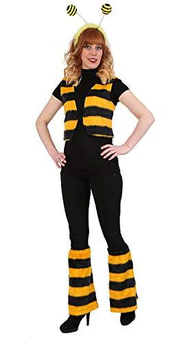 KarnevalsTeufel Kostüm-Set Biene, 3-TLG Weste, Haarreif mit Fühlern und Beinstulpen, gelb, schwarz | M, XL | Plüsch, Tierkostüm, Karneval, Mottoparty (M)