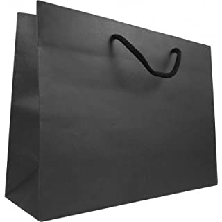 Pack of 10 x Matt black luxury paper gift bags with rope handles 25cm wide x 20cm high x 12cm base, A5 (small)