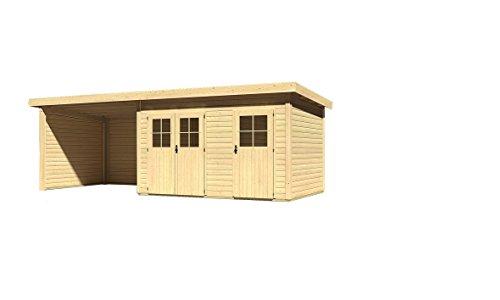 Karibu Gartenhaus Tintrup 2-Raum-Haus mit Schleppdach 3,00 Meter, Seiten- und Rückwand