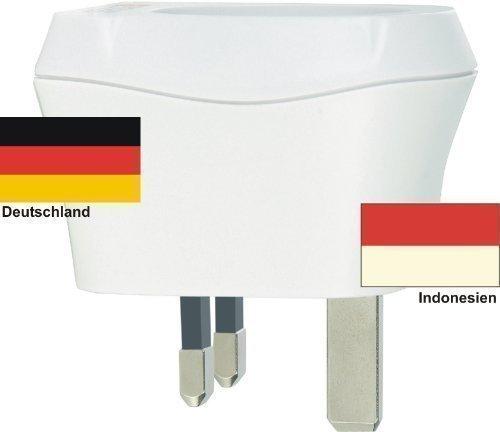 Design Reisestecker Adapter Indonesien auf Deutschland, Schukostecker 230V, Umwandlungsstecker ID-D