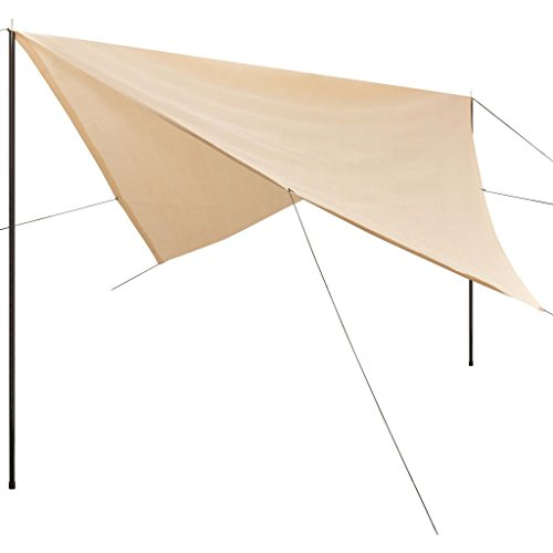 vidaXL Unisex Jugend Sonnensegel mit Gestell HDPE 5x5m Quadrat Beschattung Sonnenschutz, Creme, One Size