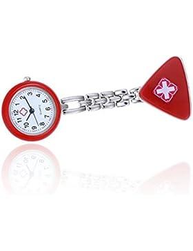 pengmma Metall Quarz Armbanduhr Uhr für Krankenschwester oder Arzt (rot)