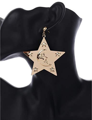 Star Metal Ohrringe, Metall-Pendant Mädchen Geschenk Bevorzugt, Sternenhimmel Eingravierten Mond Ohrringe Vergoldete Schicht, Design-Mode Gold