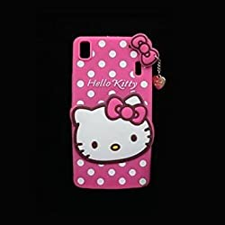Octer Covers For Lenovo K3 Note Back Cover Hello Kitty Silicone With Pendant (Pink)