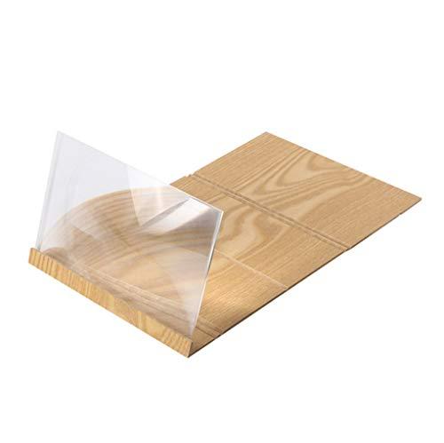 Dorical Holz Mobiltelefon Ständer, 3D Telefon Bildschirm Vergrößerungsglas Stereoskopisch Verstärken 12 Zoll Desktop Holz Halterung Promo(Gold,One size)