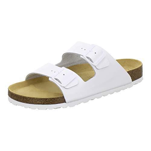 AFS-Schuhe 3100 Bequeme Pantoletten für Herren Leder, Hausschuhe Arbeitsschuhe, Made in Germany Größe 43 EU Weiß (weiß)