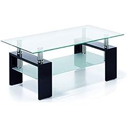 Mesa centro moderna de cristal, patas lacadas color Negro, medidas 110x60x45 de altura