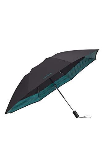 Samsonite up way - ombrello tascabile automatico a 3 livelli, diametro: 105 cm, nero (black/sea green)