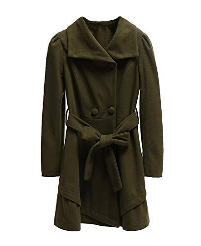 CuteRose Women's Wool Blends Double Breasted Premium Belt Parka Outwear Blackish Green M (Double Breasted Pea Coat Dress)