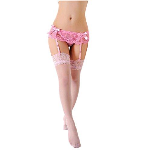 Demarkt Frauen Spitze Top Oberschenkel Highs Strümpfe Dessous Set Strumpfgürtel Strümpfe Strumpfgürtel Strapsset (Rosa)