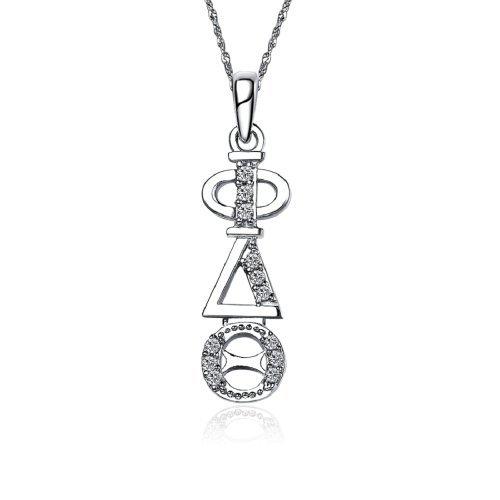 Phi Delta Theta Sweet Heart Vertikal Silber Halskette mit einer 45,7cm Silber Kette - Delta Sorority Delta Delta Geschenke