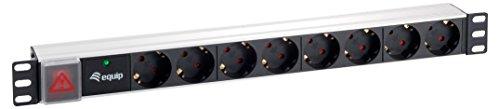 EQUIP Steckdosenleiste 48,3cm 19 Zoll 8-fach Schuko mit Ãœberspannungsschutz und Schalter 1,8m Kabel Aluminium Version