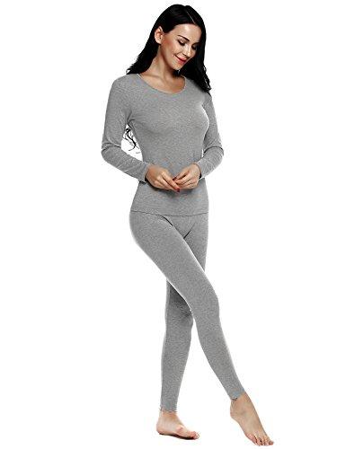 ADOME Damen U-Ausschnitt Thermounterwäsche Set(Unterhemd + Unterhose) Warme Unterwäsche Set Leggings und Langarmshirt Blumegrau L (Langärmelige Thermische)