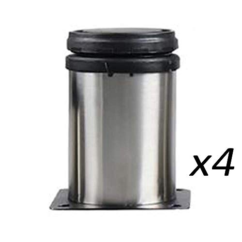 SCJ 4er Pack Kuppel/quadratischer Boden (5cm-20cm) Dicke verstellbare Edelstahlmöbel Fußstütze Beinstütze Fußsofa TV Schrankbett Verstellbarer Fuß