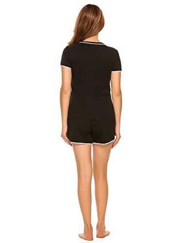 ADOME Damen Schlafanzug Kurzarm Baumwolle Shorty Hose 2tlg Pyjama set Tops Nachtwäsche Shirt Shorts Sommer Nachthemd Schwarz/Grau/Lila S-XXL Schwarz