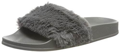 APIKA Damen Flip Flop Kunstpelz Slipper Fuzzy Fluffy Comfy Sliders Offene Zehe(EU41 grau)
