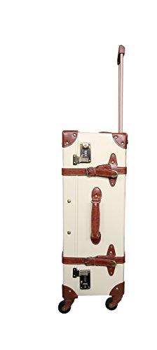 Reisekoffer Vintage Trolley Hartschale Reise Retro Koffer M+L Set /4 Rollen TSA-Schloss (Koffer Gr. L)